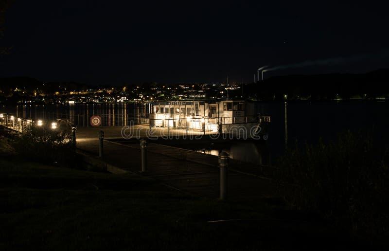 Skanderborg lake at night. Skanderborg lake Denmark. Night view with turistboat Dagmar royalty free stock photography
