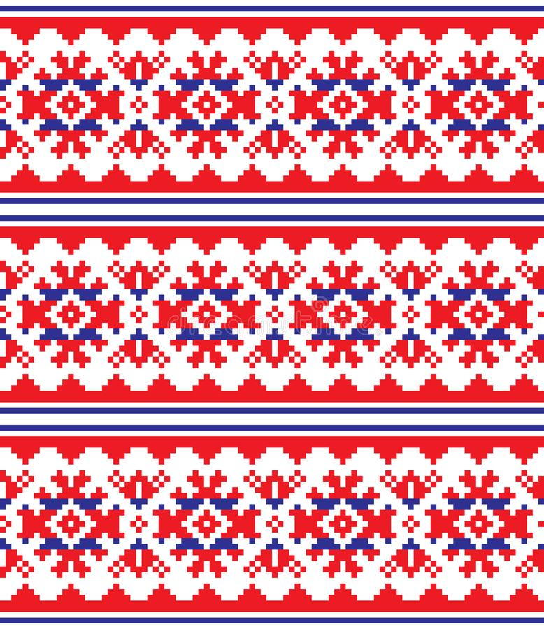 Skandinav, nordisk sömlös modell, Lapland länge röd och blå folkkonstdesign, traditionell broderi för Sami folk vektor illustrationer