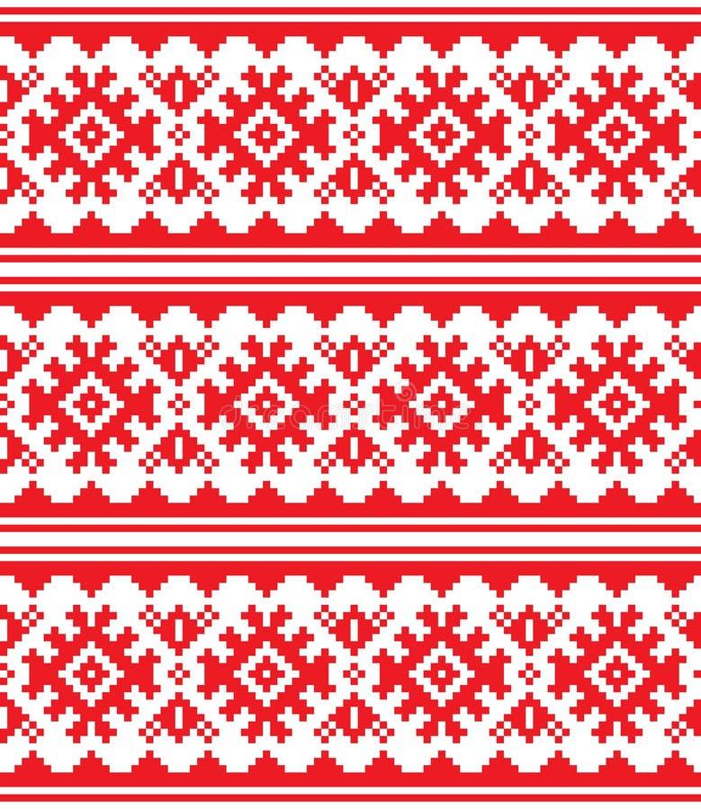 Skandinav sömlös modell för nordisk vektor, Lapland lång röd folkkonstdesign, traditionell broderi för Sami folk vektor illustrationer