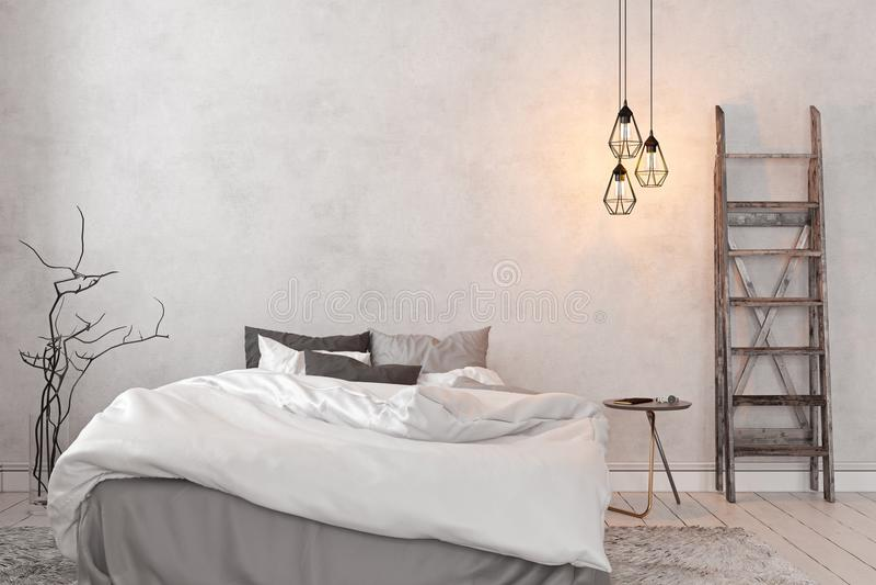 Skandinaviër, zolder binnenlandse lege witte slaapkamer royalty-vrije illustratie