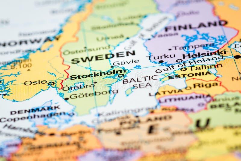 Skandinavien auf einer Karte lizenzfreies stockbild