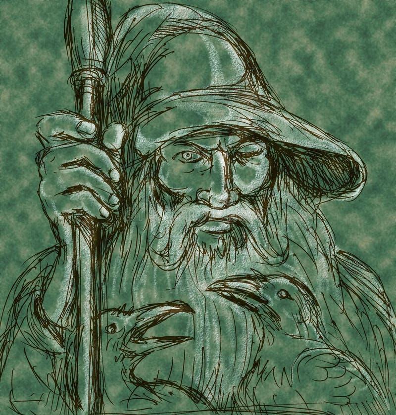 Skandinavier-Gott Odin Stangenraben lizenzfreie abbildung