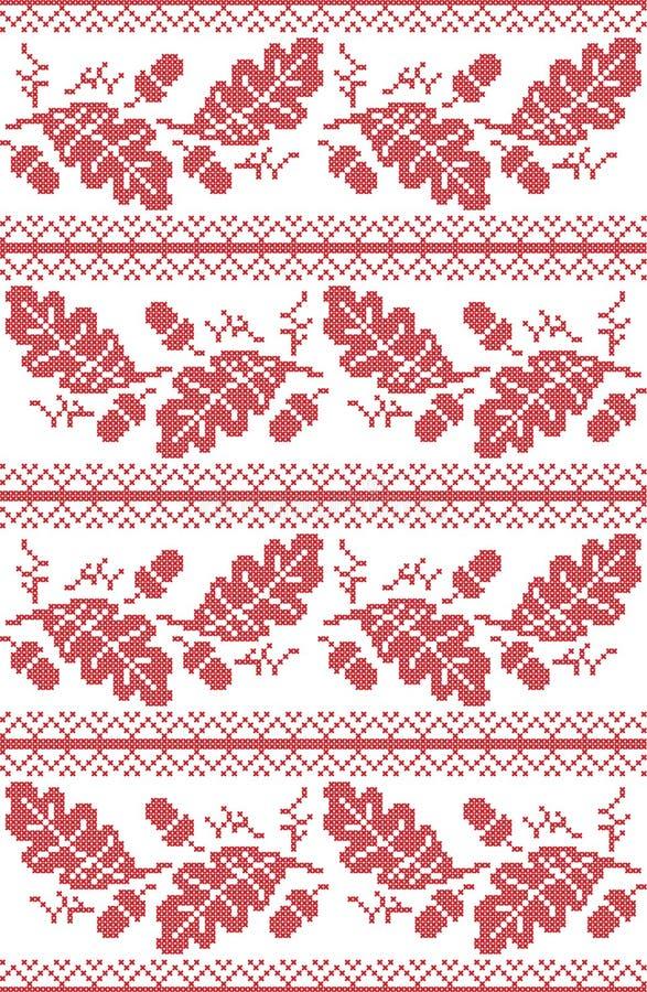 Skandinavisch en Noors volks geïnspireerd feestelijk de herfst naadloos patroon in dwarssteek met eikel, eiken blad en ornamenten stock illustratie