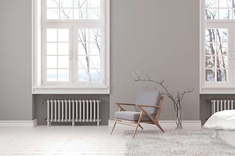 Skandinavisch grijs leeg binnenland met zitkamerleunstoel, venster en tapijt vector illustratie
