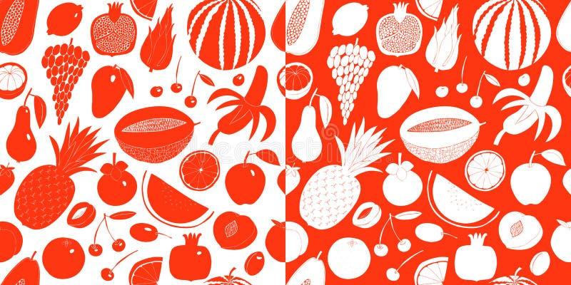 Skandinavisch hand getrokken fruit vector naadloos patroon Zwart-wit grafisch Vruchten achtergrond Linocutstijl Gezond voedsel stock illustratie