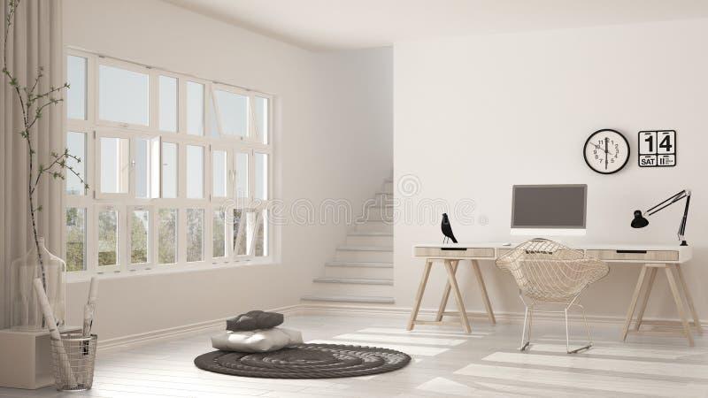 Skandinavisch huisbureau, zolderwerkplaats, minimalistisch binnenlands DE royalty-vrije stock foto's