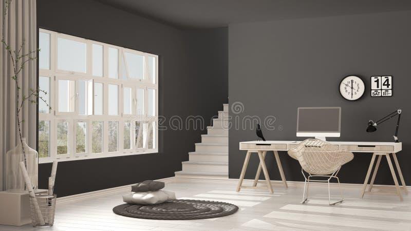 Skandinavisch huisbureau, zolderwerkplaats, minimalistisch binnenlands DE stock afbeelding