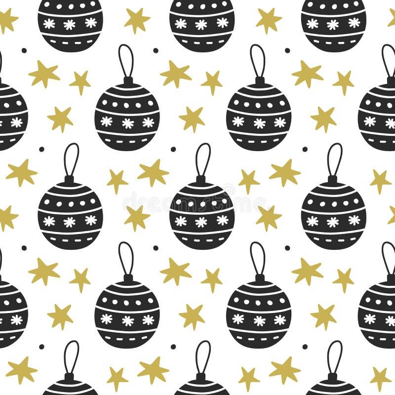 Skandinavisch Kerstmis noords naadloos patroon met decoratieve krabbelelementen royalty-vrije illustratie