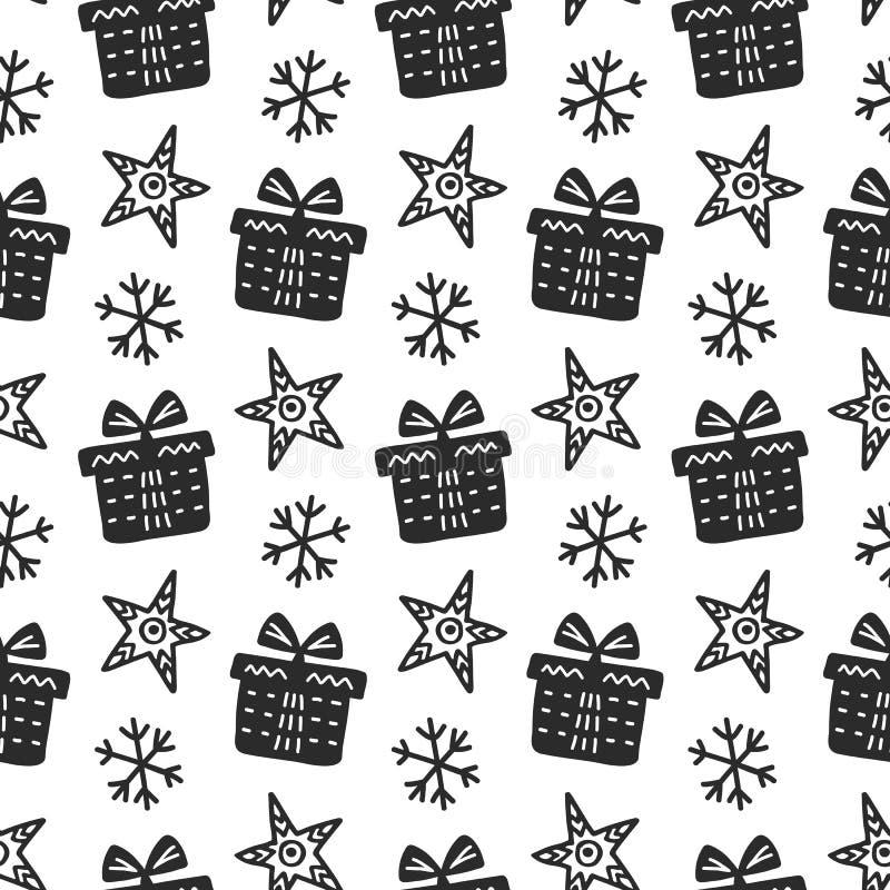Skandinavisch Kerstmis noords naadloos patroon met decoratieve krabbelelementen vector illustratie
