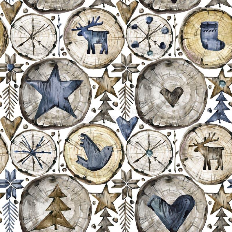 Skandinavisch naadloos patroon De illustratie van waterverfkerstmis stock illustratie