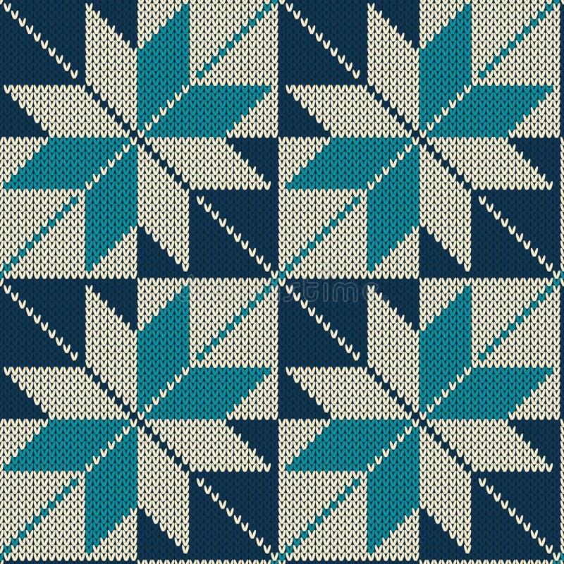 Skandinavisch stijl naadloos gebreid patroon Gebreide woltextuur Vector illustratie stock illustratie