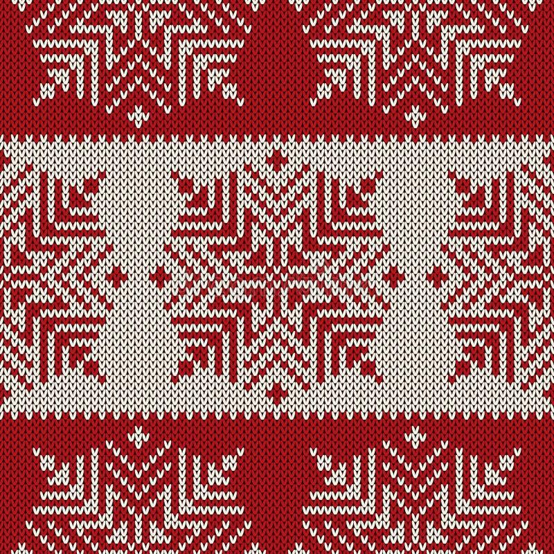 Skandinavisch stijl naadloos gebreid patroon met sneeuwvlokken Beschikbare EPS royalty-vrije illustratie