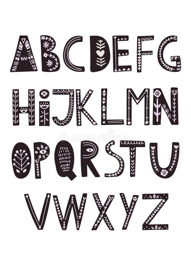 Skandinavisch stijlalfabet Hand getrokken vectoralfabet stock illustratie
