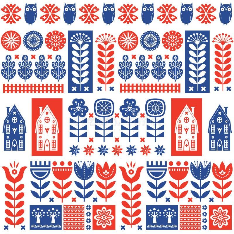 Skandinavisch volkskunst naadloos patroon met bloemen, bomen, konijn, uil, huizen en elementen in eenvoudige stijl vector illustratie