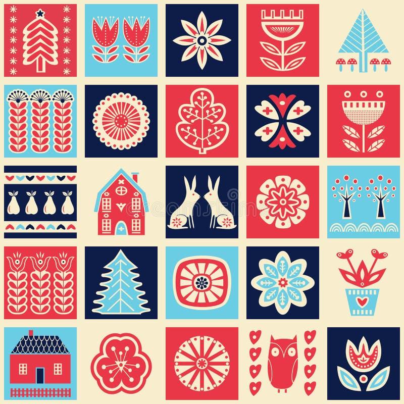 Skandinavisch volkskunst naadloos patroon met bloemen, bomen, konijn, uil, huizen, paddestoelen, peren en elementen in eenvoudige royalty-vrije illustratie