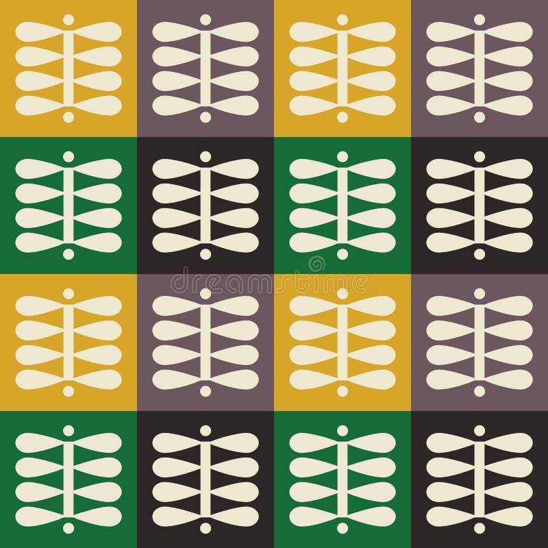 Skandinavisch volkskunst naadloos vector geruit patroon met kleurrijke installaties in minimalistische stijl royalty-vrije illustratie