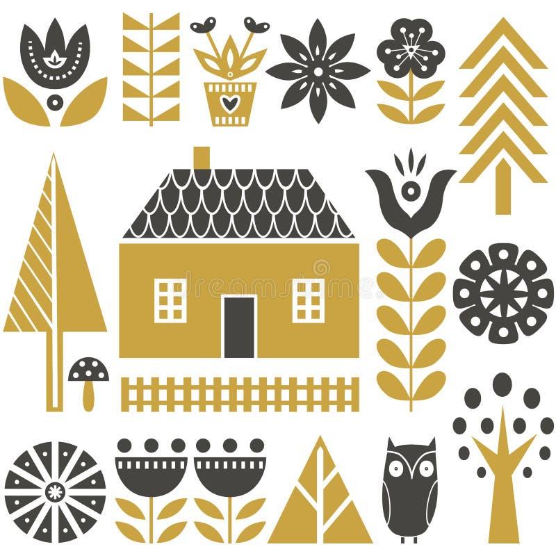 Skandinavisch volkskunst naadloos vectorpatroon met bloemen, bomen, paddestoelen, uil, huizen en landelijk landschap in eenvoudig royalty-vrije illustratie