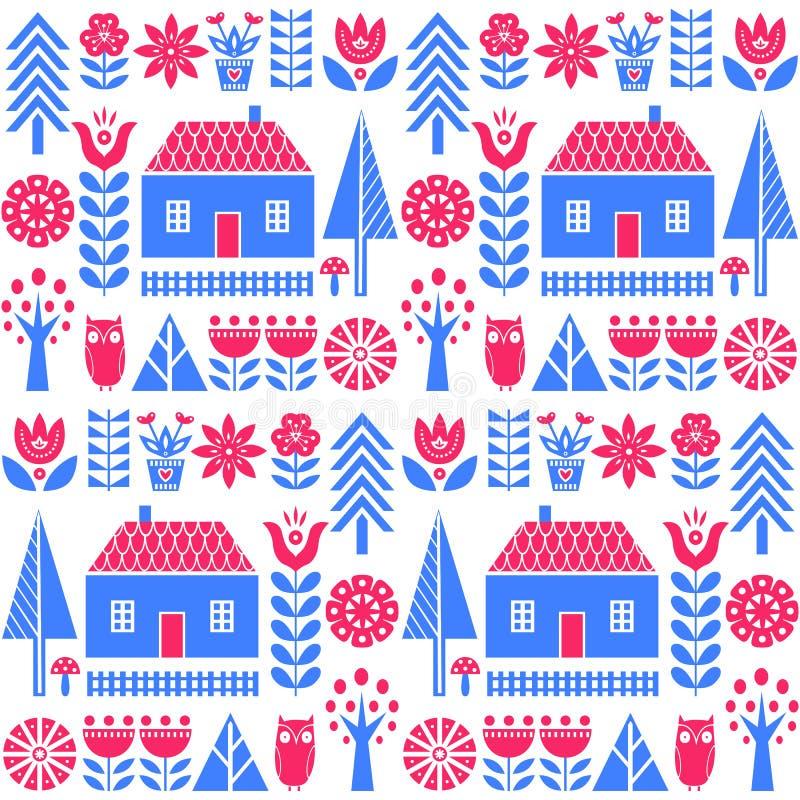 Skandinavisch volkskunst naadloos vectorpatroon met bloemen, bomen, paddestoelen, uil, huizen en landelijk landschap in eenvoudig stock illustratie