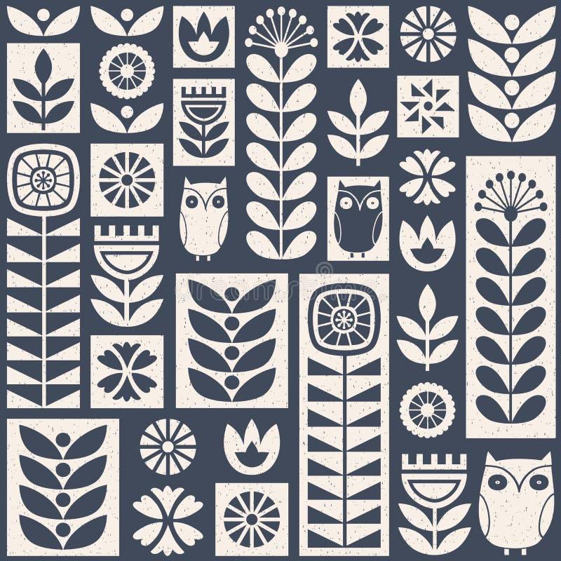 Skandinavisch volkskunst naadloos vectorpatroon met bloemen, installaties en uilen op uitgeputte textuur in minimalistische stijl vector illustratie
