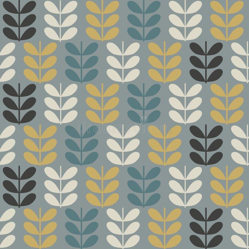Skandinavisch volkskunst naadloos vectorpatroon met installaties in minimalistische stijl royalty-vrije illustratie
