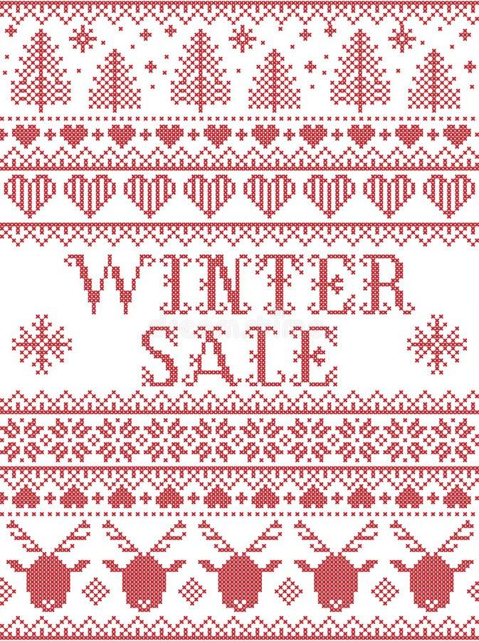 Skandinavische Art des nahtlosen Winterschlussverkaufs, angespornt durch norwegisches Weihnachten, festliches Wintermuster im Kre lizenzfreie abbildung