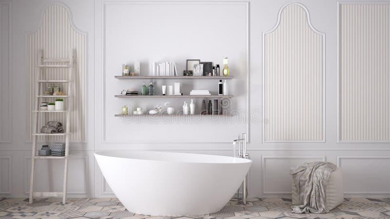 Skandinavische badkamers, klassiek wit uitstekend binnenlands ontwerp royalty-vrije stock afbeelding