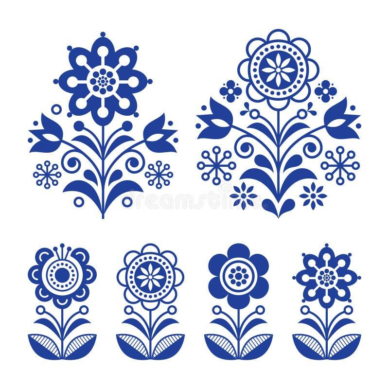Skandinavische Blumen entwerfen, Volkskunstdekoration mit Blumen, nordischer Retro- Hintergrund im Marineblau vektor abbildung