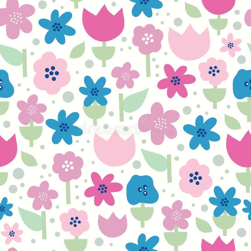 Skandinavische Blumen nahtlos Vektormuster Flat-Stilflorale in rosa, violett und blau auf weißem Hintergrund lizenzfreie abbildung