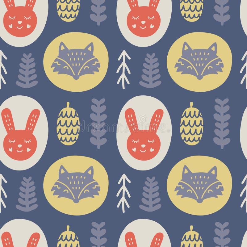Skandinavische bosdieren Hand getrokken krabbels naadloos patroon stock illustratie