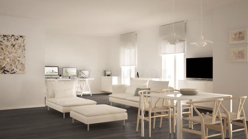 Skandinavische eigentijdse woonkameropen plek met eettafel, bank en chaise-longue, bureau, huiswerkplaats met computers, royalty-vrije stock foto