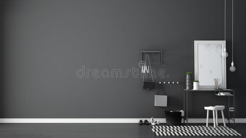 Skandinavische Eingangslobbyhalle mit Tabelle, Schemel, Teppich und m stockfotografie