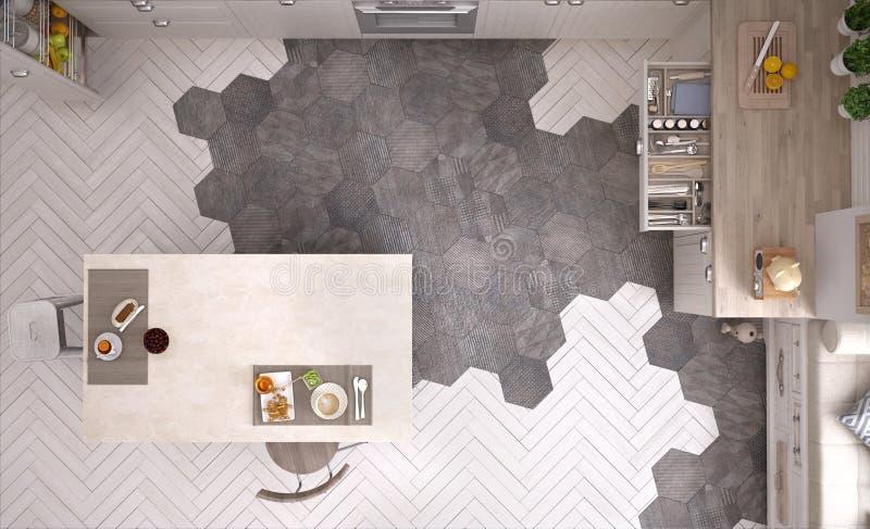 Skandinavische Küche, mit Insel, Fliesen und Parkettboden, Draufsicht, zeitgenössische Innenarchitektur lizenzfreies stockfoto