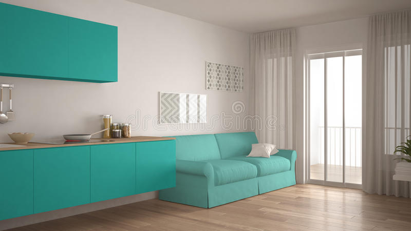 Skandinavische Küche mit Sofa, hölzernem Parkettboden, Weiß und vektor abbildung
