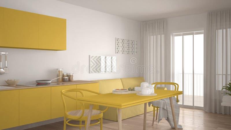 Skandinavische Küche mit Sofa und Tabelle, hölzerner Parkettboden, lizenzfreie abbildung