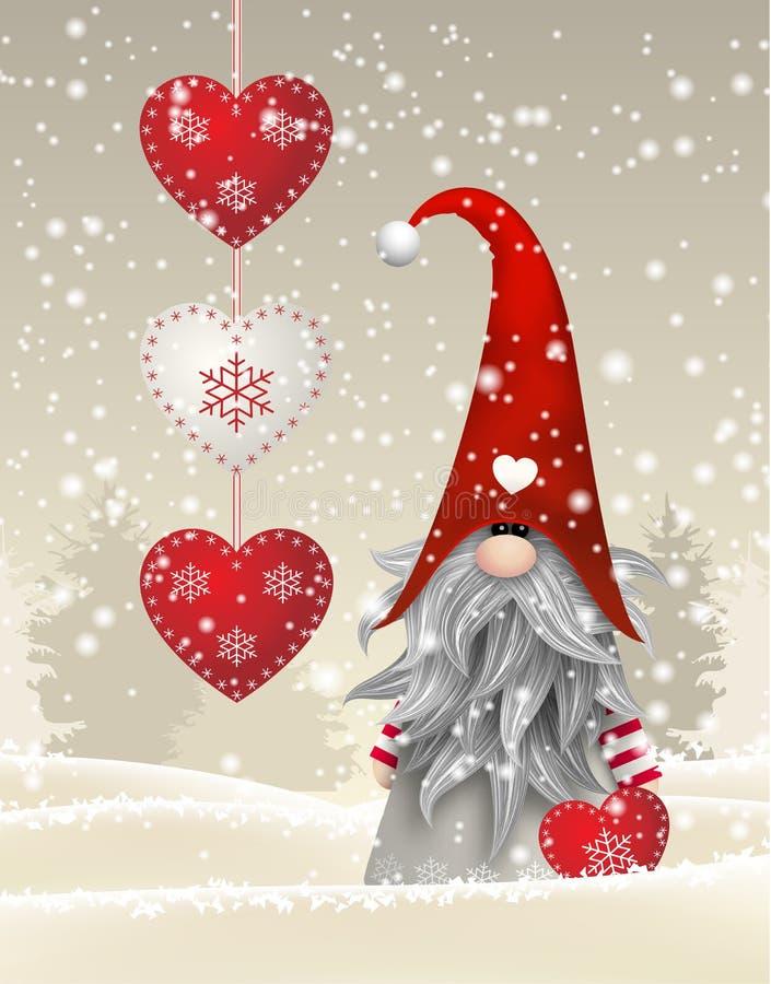 Skandinavische Kerstmis traditionele gnoom, Tomte, illustratie stock illustratie