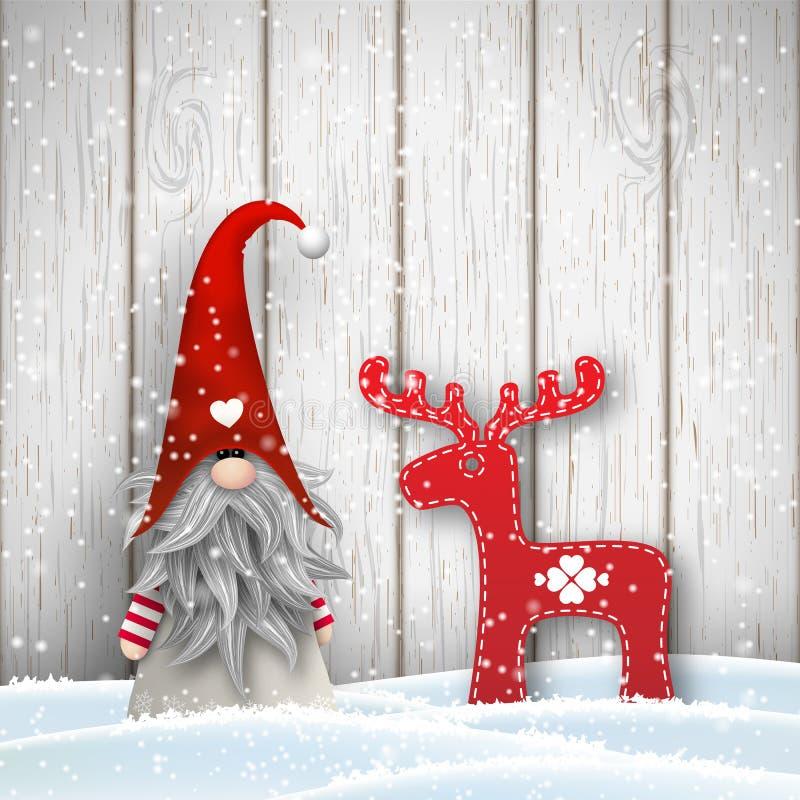 Skandinavische Kerstmis traditionele gnoom, Tomte, met abstracte decoratie in vorm van rendier, illustratie vector illustratie
