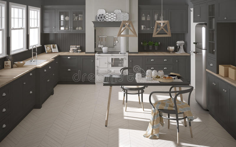 Keuken Interieur Scandinavisch : Skandinavische klassieke grijze keuken met houten details