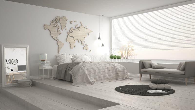 Skandinavische minimalistische slaapkamer, minimalistic modern binnenlands DE royalty-vrije stock afbeeldingen