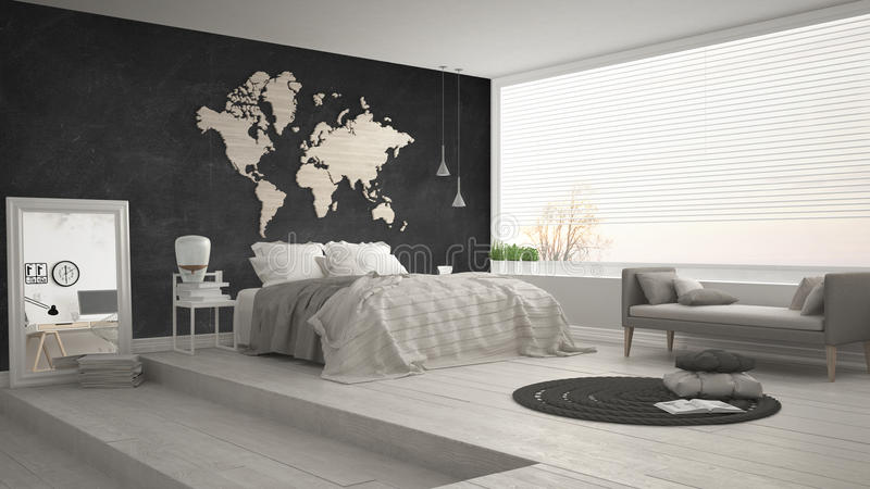 Skandinavische minimalistische slaapkamer, minimalistic modern binnenlands DE stock foto's