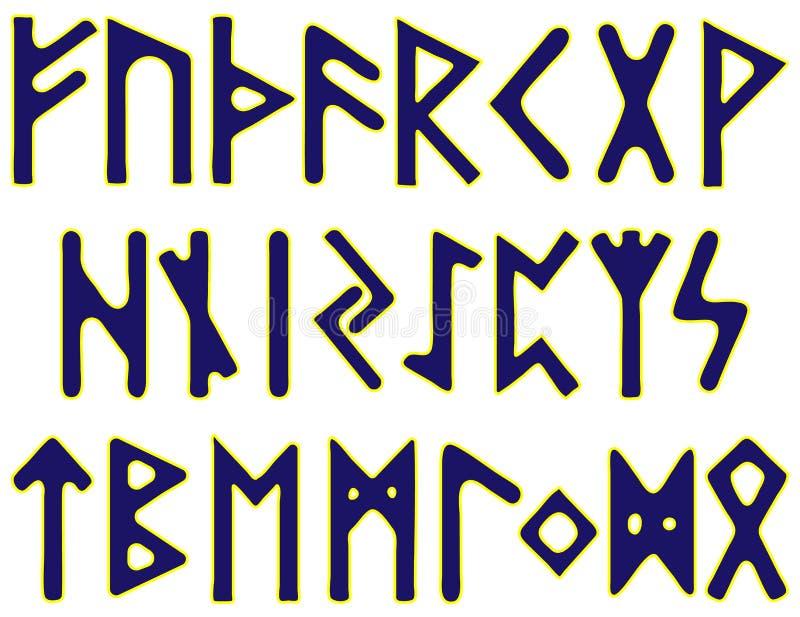 Skandinavische runen blauwe brieven met een geel overzicht op een witte achtergrond royalty-vrije illustratie