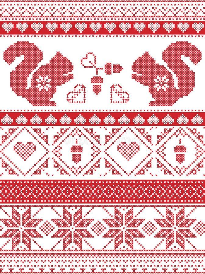 Skandinavische und norwegische Weihnachtskultur spornte festliches Wintermuster im Kreuzstich mit Eichhörnchen, Eichel, Liebesher stock abbildung