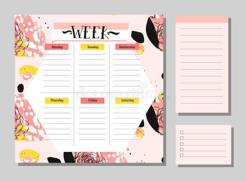 Skandinavische wöchentliche und tägliche Planer-Schablone Organisator und Zeitplan mit Anmerkungen und Listen-Vektor tun vektor abbildung