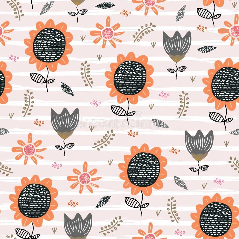 Skandinavische Zeichnung des netten Musters der Blumen nahtlosen Sonnenblumenhandder gezogenen kindischen Art-Vektorillustration stock abbildung