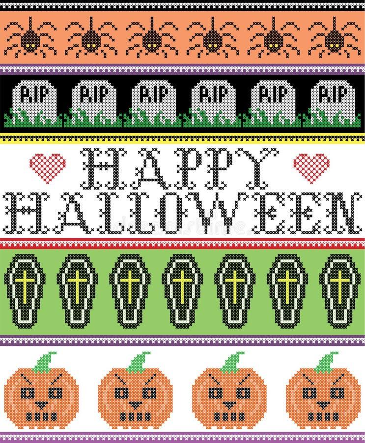 Skandinavischer Kreuzstich und traditioneller amerikanischer Feiertag spornten nahtloses glückliches Halloween-Muster mit RISS-Gr stock abbildung