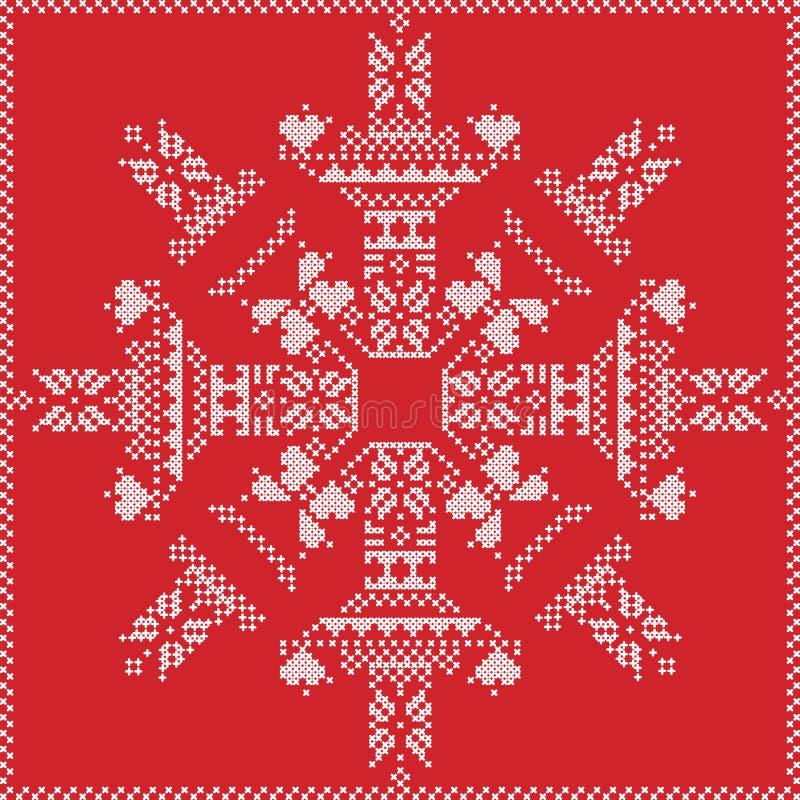 Skandinavischer Nordischer Winterstich, Strickendes Weihnachtsmuster ...