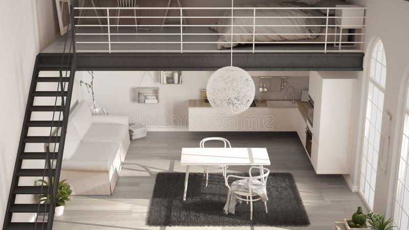 Skandinavischer unbedeutender Dachboden, Wohnschlafzimmer mit weißem kitc stockfoto