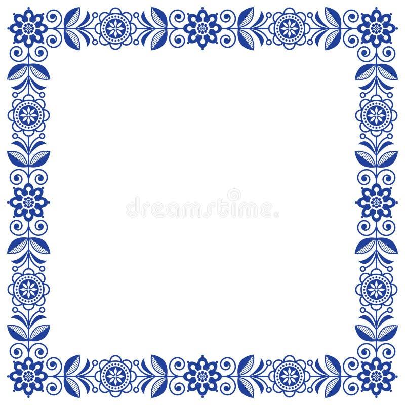 Skandinavischer Volkskunstvektorrahmen, nette Blumengrenze, quadratisches Muster mit Marineblau blüht - Einladung, Grußkarte stock abbildung