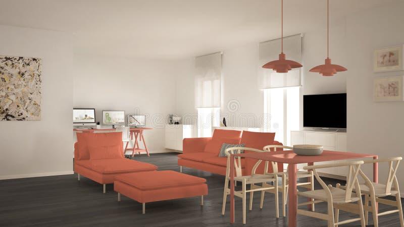 Skandinavischer zeitgenössischer Wohnzimmeroffener raum mit Speisetische, Sofa und Liege, Büro, Hauptarbeitsplatz mit Computern, stock abbildung