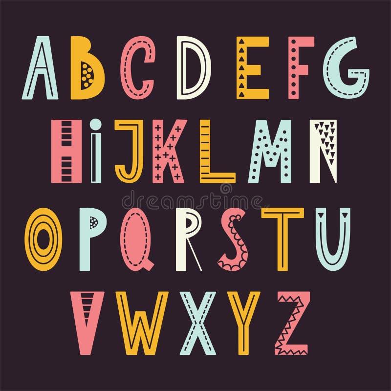 Skandinavisches abstraktes Alphabet Typografieplakat mit Handgezogenem Guss Vektor Illustartion vektor abbildung
