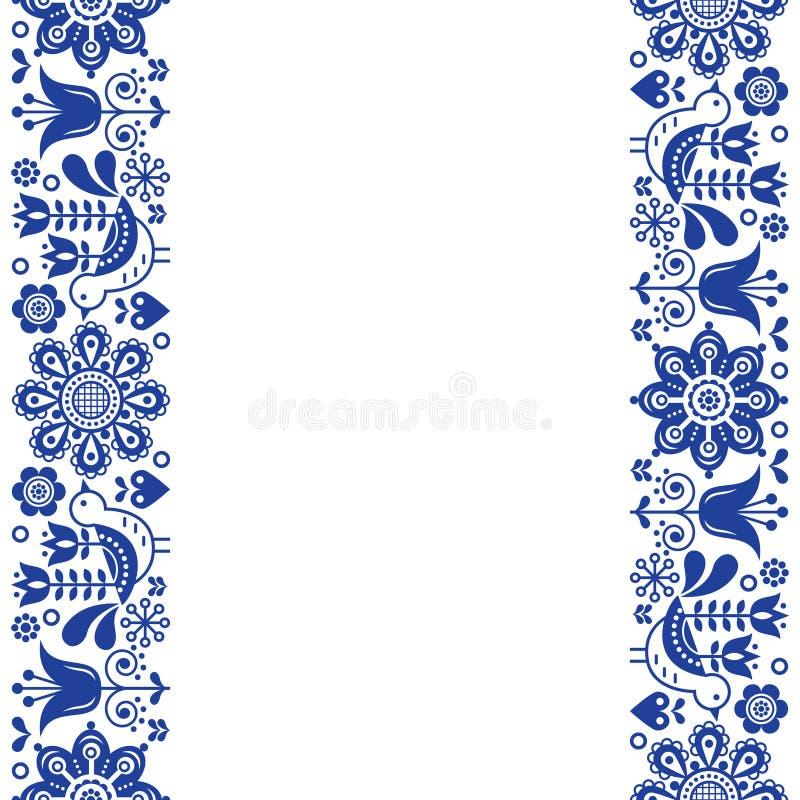 Skandinavisches Grußkartendesign, Retro- Vektordesign der Volkskunst, Verzierung mit Vögeln und Blumen in blau- vertikalen Streif stock abbildung
